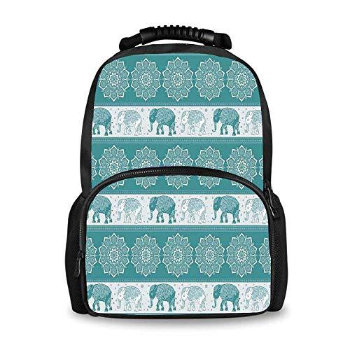 Elephants Decor Adorable School Bag,Pattern in Ethnic Style Elephant Tradition Eastern Vintage Oriental Curve Festive Decorative for Boys,12