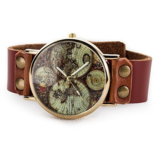 Womens-Unisex-World-Map-Watch-Vintage-Brown-Leather-Strap-Classic-Golden-Edge