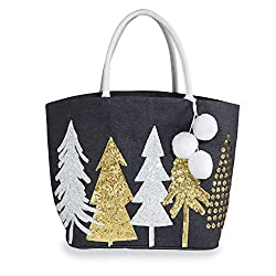Winter Dazzle Sequin Christmas Trees Tote Bag