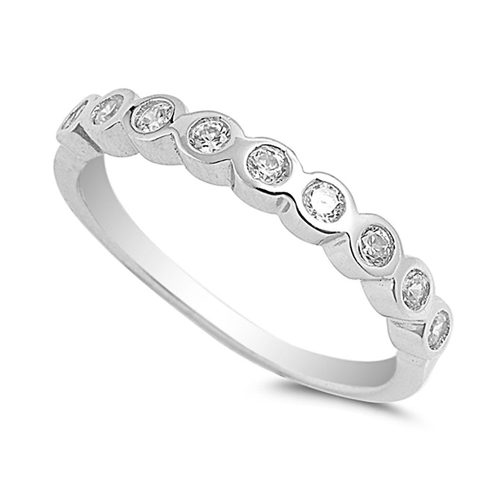 Sterling Silver Bezel Style Clear CZ Anniversary Band Ring - Size 10