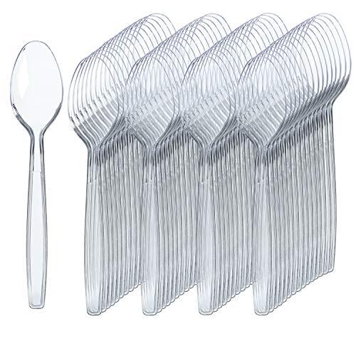 300 Clear Plastic Spoons | Heavy Duty Plastic Silverware Spoons | Fancy Plastic Cutlery | Elegant Disposable Spoons Pack…