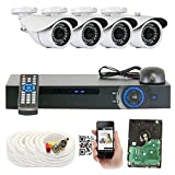 GW Security 1080P HD Over Analog (HDCVI) 4 Channel Video Security System – Four 2.1 MP Weatherproof IP66 Bullet & Dome Cameras, 80ft IR LED Night Vision, Pre-Installed 1TB HD, Quick QR Code Access For Sale