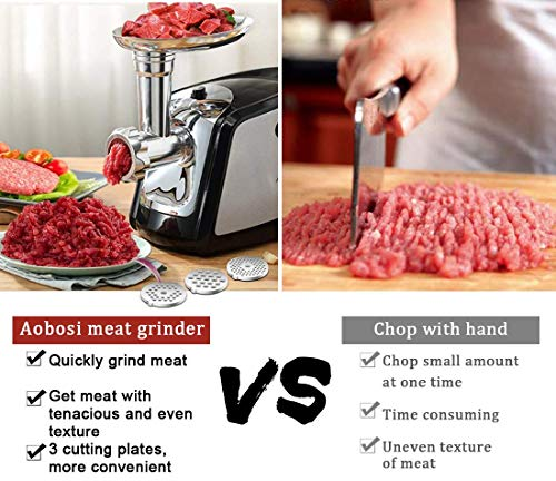 Electric Meat Grinder, Aobosi 3-IN-1 Meat Mincer & Sausage Stuffer,【1200W Max】Sausage & Kubbe Kits Included, 3 Grinding Plates,Dual Safety Switch, Stainless Steel Housing
