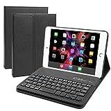 JADEMALL Keyboard Case Compatible iPad Mini 3 - iPad Mini 2- iPad Mini 1 - Folio Leather Protective Cover - Ultra Thin & Light - Removable Wireless/BT Smart Keyboard - Black