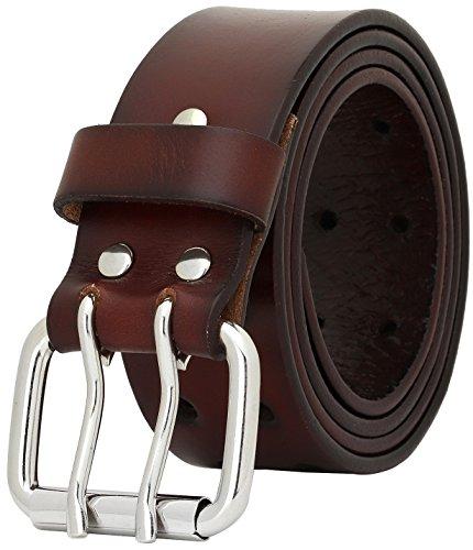 Falari Men's Full Grain Leather Belt Double Prong Belt 9004 (34 (waist 32), 9024 Dark Brown, Stainless Steel Buckle)