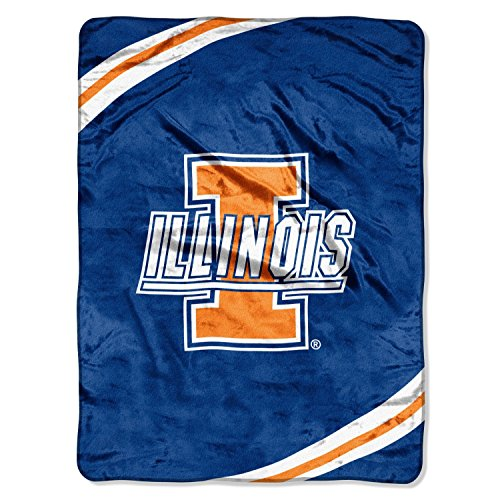 NCAA Illinois Illini Force Royal Plush Raschel Throw Blanket, 60x80-Inch (Fighting Illini Blanket)