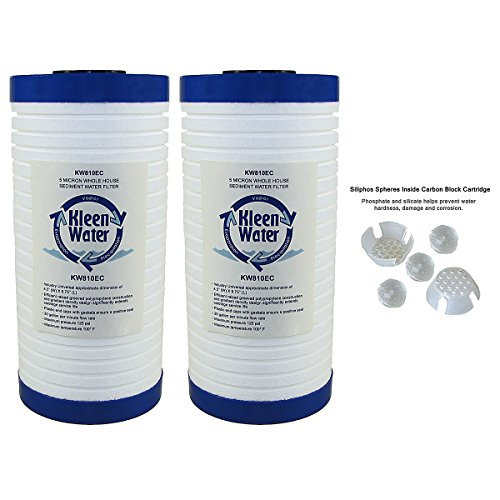 KleenWater Dirt Rust Sediment Filter with Polyphosphate for Scale and Corrosion Protection, KW810EC-ScaleX Replacement Water Filter Cartridge, 5 Micron, 4.5 x 9.75 Inch, Set of 2