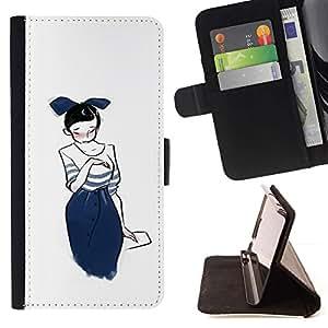 Momo Phone Case / Flip Funda de Cuero Case Cover - Gráfico de la chica japonesa Sketch Moda azul de Bowtie - HTC One M9