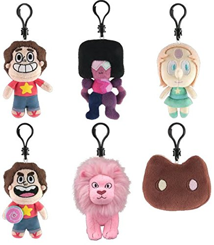 Steven Universe Plush Clip-Ons Set of 6 includes: Pink Lion , Cookie Cat , Steven with sheild , Pearl , Garnet & Steven