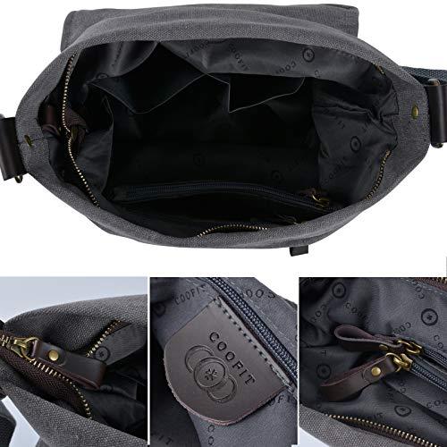 Crossbody COOFIT Bag Strap Bag thick Hobo Canvas Shoulder Bag Messenger Unisex Gray Women Bag Bag for Shoulder wRIRgqr0