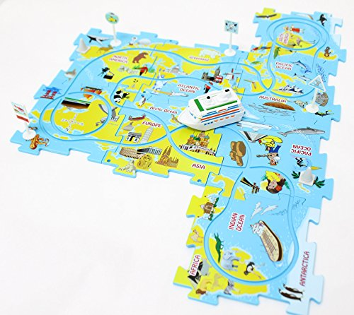Themed Vehicles Puzzle Track Play Set – Battery Operated Toy Theme Style Vehicle Cruise Ship Runs on Interchangeable Jigsaw Puzzle Mat Tracks – Make up to 50 Track Combinations by Perfect Life Ideas