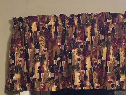 (French Wine Bottle Grapes Tan Glass Window Treatment Topper Valance Kitchen)