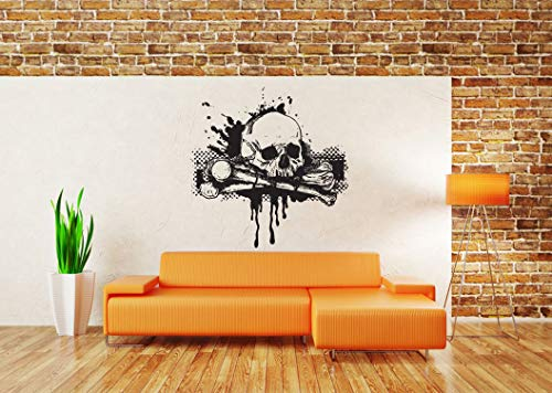 Vinyl Sticker Pirate Logo Sign Skull Cross Bones Skeleton Death Dead Man Hard Metal Rock Biker Halloween Mural Decal Wall Art Decor SA3014 ()