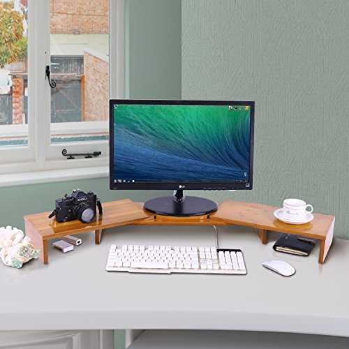 Triple Monitor Stand Riser Desktop 3 Shelf Bamboo Wood Computer Riser Screen Holder with Adjustable Lenth Angle Corner Dual PC Shelf Desktop Organizer with Keyboard Storage (42-50 inch) by Ufine (Image #5)