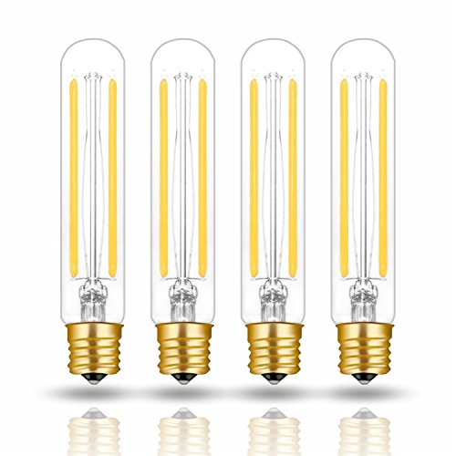 Hizashi 4W LED T6.5 Tubular Filament Bulb E17 Intermediate Base Dimmable 4.7'' Length 40W Equivalent Light Bulb 4000K Cool White 90+ CRI for Exit Sign Light, Refrigerator, Freezer, UL Listed - 4 Pack (Exit Sign Bulbs Replacement)