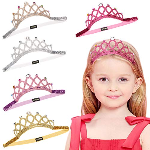 Baby Toddler Elastic Chiffon Flower Headbands Princess Girls Hand Sewing Beads Flower Headwear Nylon (DN155)]()