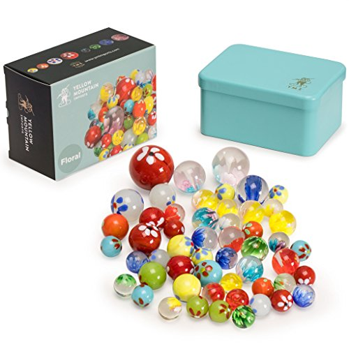 Yellow Mountain Imports Marbles Set in Tin Box, Floral
