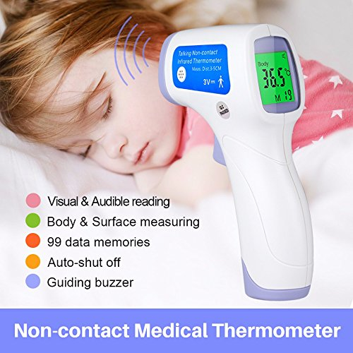 Baby Forehead Thermometer with Voice Reading.Digital Infrared Non-Contact Suitable for Baby, Toddlers and Adults And Object with Instant Results (L) by HeTaiDa