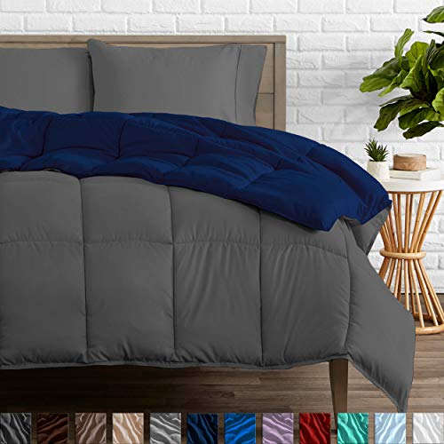 Bare Home Reversible Comforter - Full/Queen - Goose Down Alternative - Ultra-Soft - Premium 1800 Series - Hypoallergenic - All Season Breathable Warmth (Full/Queen, Dark Blue/Grey)