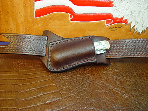 Custom Left-hand Cross Draw Trapper Style Folding Knife Sheath. Made Out of 10 Ounce Buffalo Hide Leather. Dyed Dark Brown Sheath Only Knife Not - Side Draw Sheath