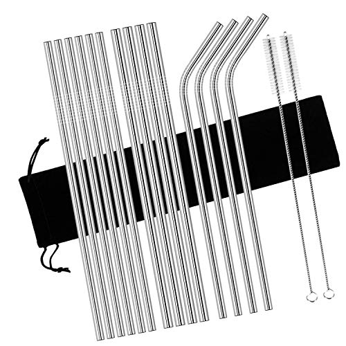 Stainless Steel Drinking Straws Reusable, VOMONO Long 10.5 Inch Drinking Metal Straws with Cleaning Brushes for Milkshake Smoothie Cold Beverage Solid Drinks,Fit 20 ounce Yeti Rambler Cups, 16 Pack