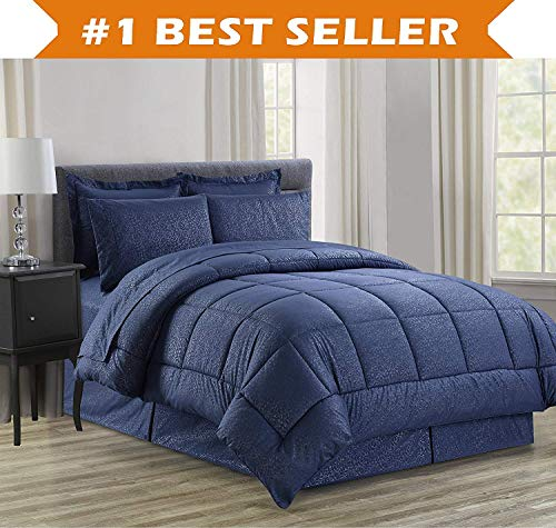 (Luxury Bed-in-a-Bag Comforter Set on Amazon! Elegant Comfort Wrinkle Resistant - Silky Soft Beautiful Design Complete Bed-in-a-Bag 8-Piece Comforter Set -Hypoallergenic- Full/Queen, Navy Blue)
