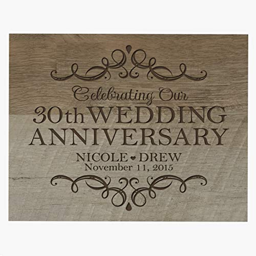 LifeSong Milestones Personalized Name and Date 30th Anniversary Plaque 30 Years of Marriage - Thirty Year Wedding Keepsake Gift for Parents Husband Wife him her 8