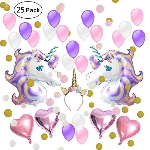 IAMIGO Party Balloons Unicorn Decoration Birthday Decor Supplies Kit With Headband Set