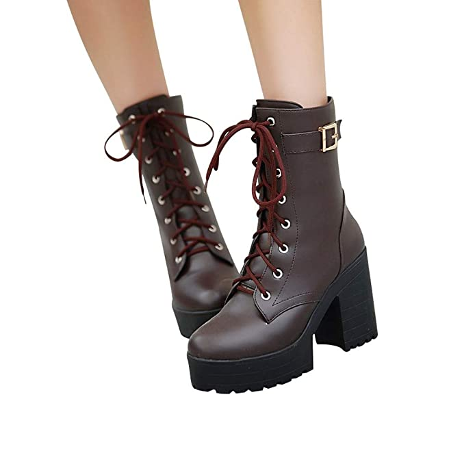 Amazon.com | AgrinTol Thick Heel Ankle High Heel Martin Thick Bottom Lace-Up Boots Blue | Boots