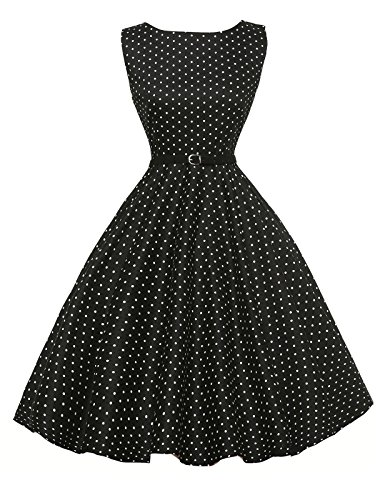 Polka Dots Vintage Style Pin Up Dresses Sleeveless Size 2XL F-3