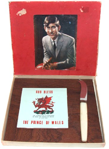 1969 Prince Charles of Wales Investiture Souvenir Cheese Tray Tile (Charles Cheese Knife)