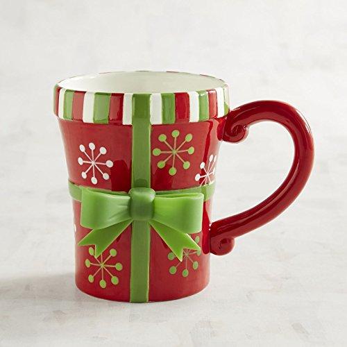 NEW Pier One 16oz Red and Green Present Coffee Tea Mug Ceramic Holiday Christmas -