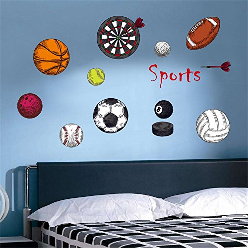 decalmile Sports Wall Decals Basketball Football Wall Stickers Peel and Stick Removable Wall Art for Kids Bedroom Boys Room Nursery Classroom]()