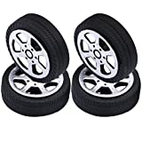 Yeeco Pack of 4 Plastic Toy Car Tire Wheel, Mini Φ1.9*30mm Smart RC Car Robot Tyres Model Gear Parts
