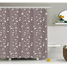 Floral Shower Curtain by Ambesonne, Spring Cherry Blossoms Flowers on Branches Asian Japanese Sakura Theme Illustration, Fabric Bathroom Decor Set with Hooks, 70 Inches, Mauve White