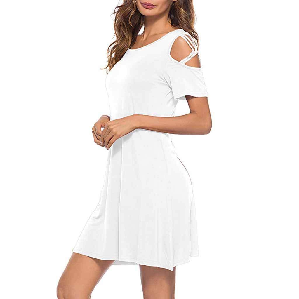USStore Women Mini Dress Off-The-Shoulder Cross Short Sleeve Summer Casual Day Simple Ultrashort Home Beach Sundress