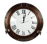 20'' Antique Matte Copper Brown Porthole Nautical Roman Clock | Large Lavish Sailor's Maritime Gift | Nagina International