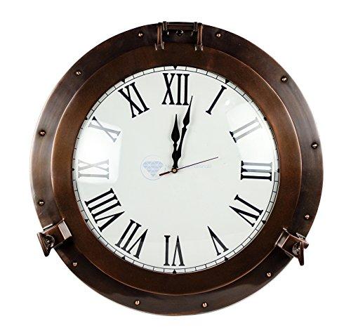 20'' Antique Matte Copper Brown Porthole Nautical Roman Clock | Large Lavish Sailor's Maritime Gift | Nagina International by Nagina International