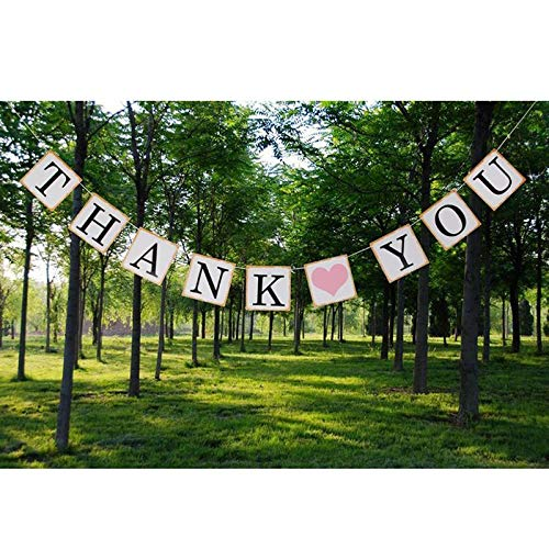 1PC Thank You Happy Thanksgiving Banner Bunting Pink Heart Party Decorations Garlands Party Supplies -