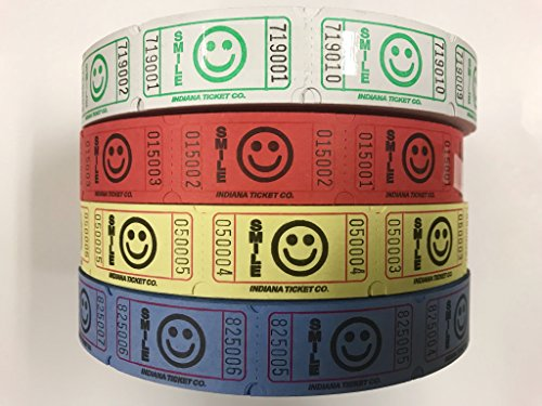 Raffle Tickets - 4 Rolls of 2000 Tickets) 8,000 Total Smile Raffle Tickets (4 ROLLS/LIME-BLUE-RED-YELLOW)