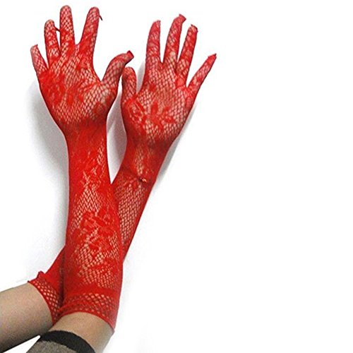 (JYS Women Elbow Long Length Stretch Lace Gloves)