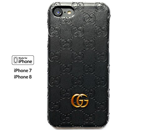 (Luxury Monogram - iphone 7/8 case Leather texture&scent handcrafted art stylish organic genderless. Protective case Anti scratch Drop protection Shock Proof. (Dark) )
