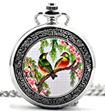 Infinite U Red-billed Leiothrix Silver Hollow Skeleton Steel Mechanical Pocket Watch