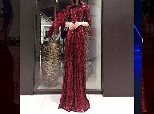sera atmosfera da paillettes end banchetto donna abito elegante madre High elegante SHJJK rosso madre T0qBB6
