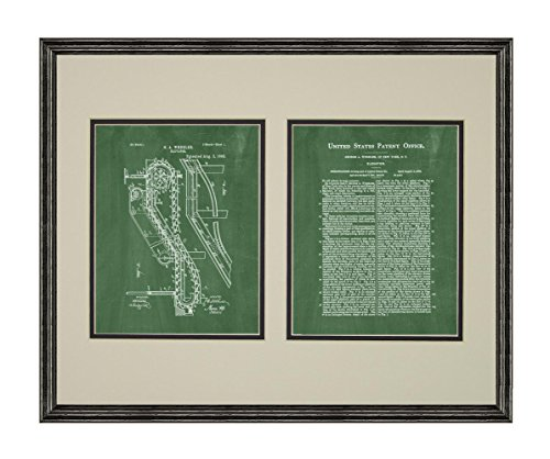 Elevator Patent Art Green Chalkboard Print in a Black Wood Frame with a Double Mat (20
