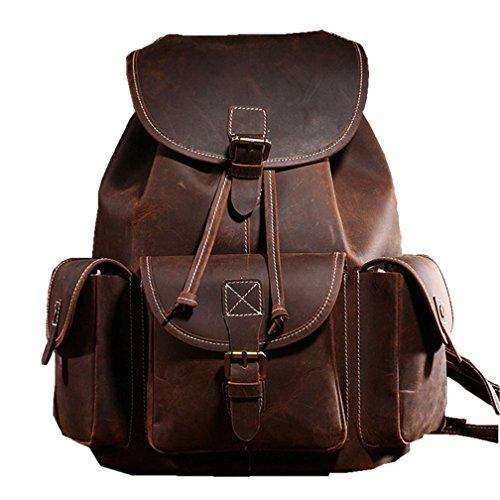 Dokin Backpack Women Backpack 36 Genuine 15cm Shoulder College City Vintage Leather Unisex 38 Uni Vintage Brown Shopping Rucksack rr7qg