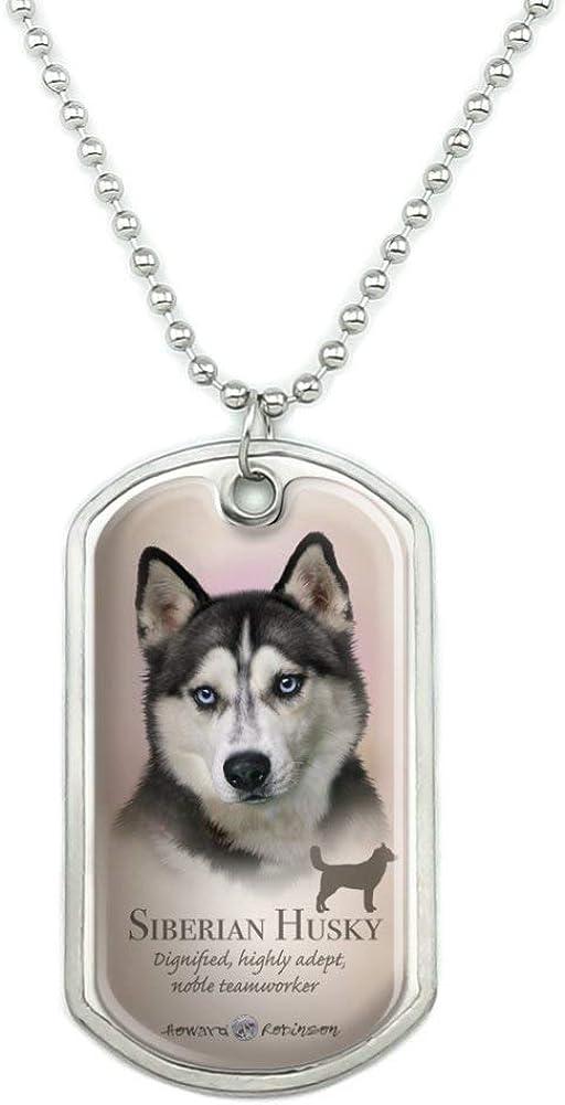 Collar Tag Charm Dog Tag Stainless Steel Alaskan Malamute Siberian Husky Silhouette Pet Dog Tag Collar Pendant Necklace