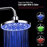 AIOLOC LED Shower Head High Pressure Wall Mount Rainfall Showerhead Chrome Changes Automatically According to Water Temperature LED Adjustable for Relaxation and Spa