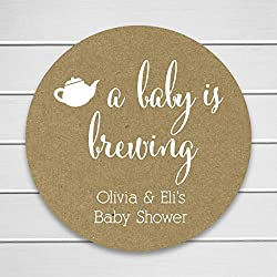 Baby is Brewing White Ink on Kraft Shower Coffee or Tea Favor Stickers (#245-KR-WT)