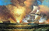 100% Hand Painted Pirate Ship Battle Ocean Sea Cannon Explosion 1800's Seascape Canvas Oil Painting for Home Wall Art by Well Known Artist, Framed, Ready to Hang